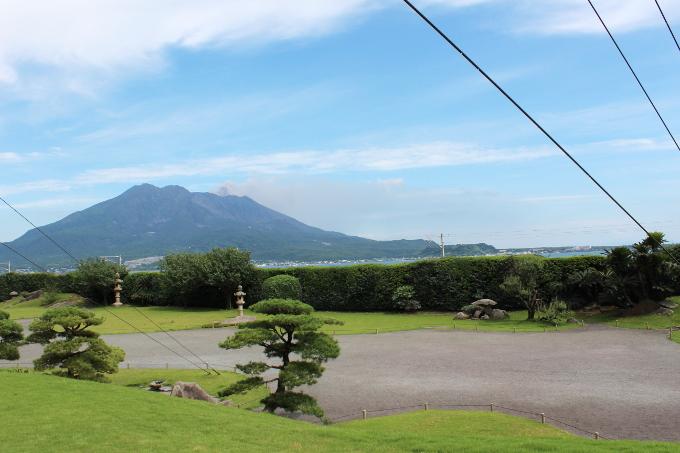 仙巌園の御殿からの景色