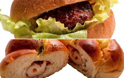 手作りハンバーグのハンバーガー(上)とちくわパン