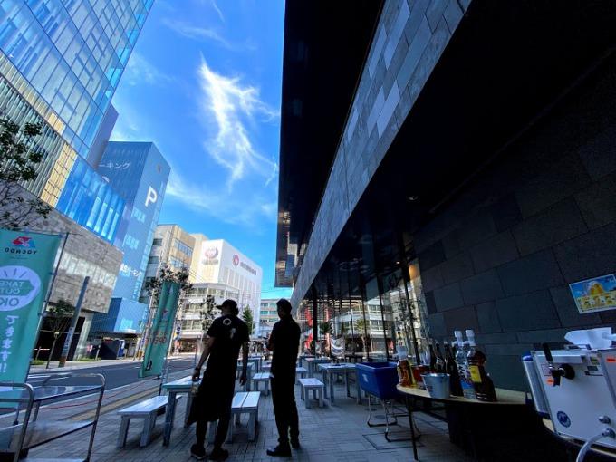 鹿児島銀行の巨大なビルに挟まれて大きな日陰が街を覆う。頭上には青い夏空が広がるけれど、ビル風が吹いて思ったより涼しい