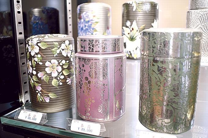 岩切美巧堂(薩摩錫器工芸館)絵付け茶筒