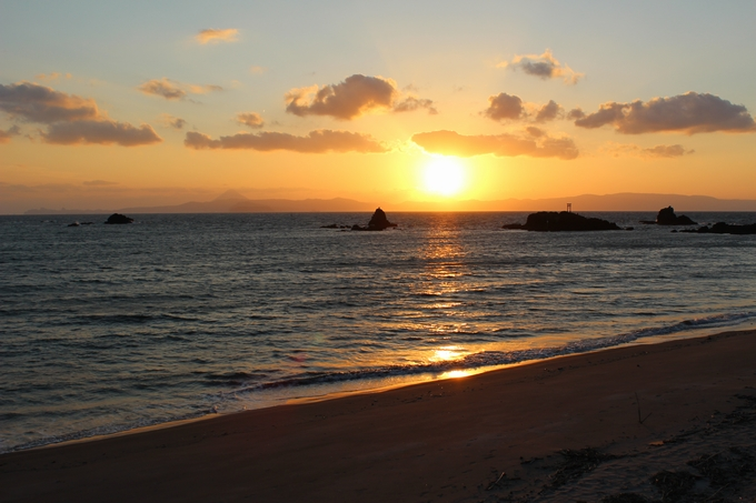 高須海水浴場の夕日
