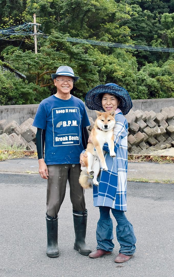 新島島民の佐々木さんご夫妻と柴犬のリュウくん