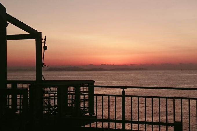 道の駅阿久根から見た沈む夕日