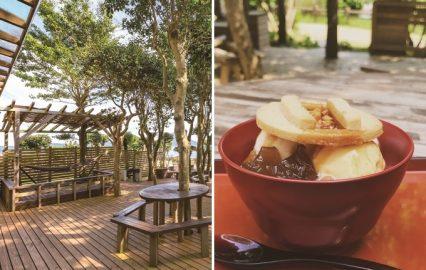 エビカフェのウッドデッキと釜ふたジンジャーパフェ