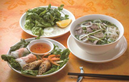 レストラン フォー ベトナム「生・揚げ春巻き(手前)と牛肉のフォー(右)」
