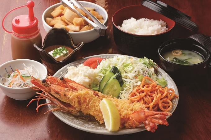 越路浜食堂「特大エビフライ定食」