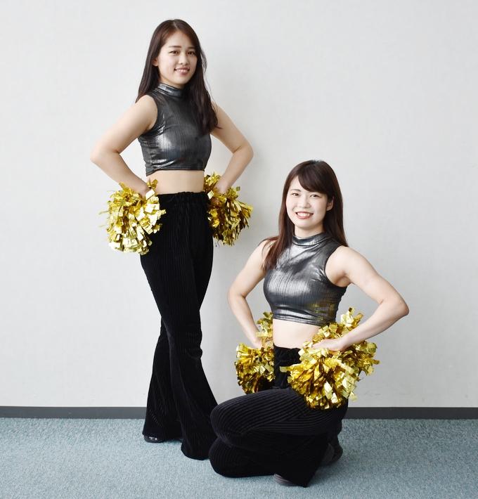 鹿児島レブナイズの専属チア・レイベスのYu-kiさん、Yuukaさん