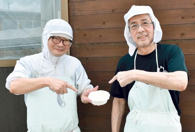 川辺やすらぎの郷・豆腐製造担当、田中弘文さん、工藤宏二さん